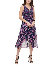 Floral-Print Faux-Wrap Chiffon Dress