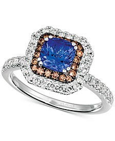 Blueberry Tanzanite (9/10 ct. t.w.) & Diamond (5/8 ct. t.w.) Halo Ring in 14k White Gold
