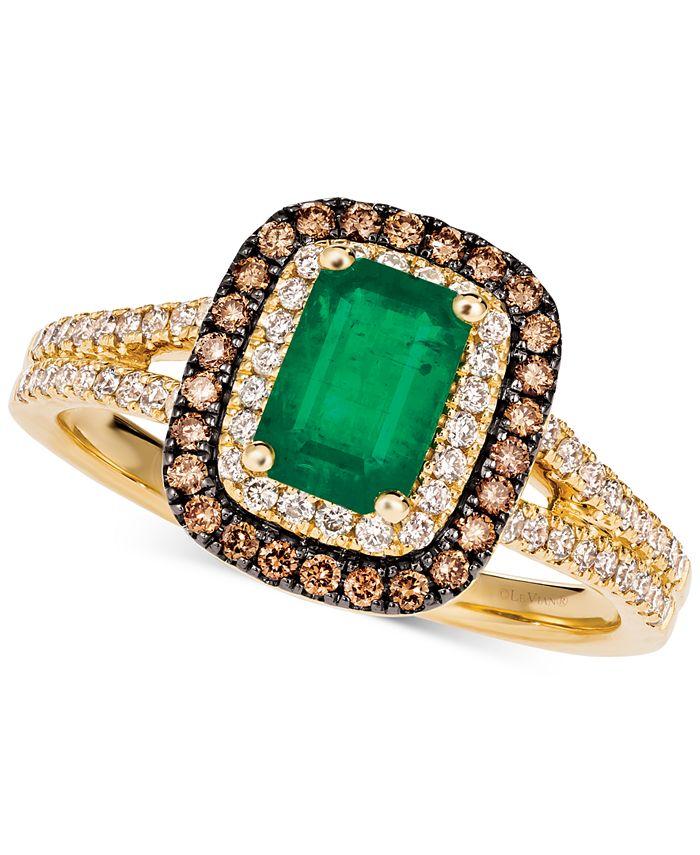 Le Vian - Costa Smeralda Emerald (3/4 ct. t.w.) & Diamond (3/8 ct. t.w.) Halo Ring in 14k Gold