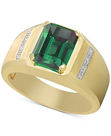 Men's Lab-Created Emerald (3 ct. t.w.) & Diamond Accent Ring in 10k Gold (Also in Lab-Created Sapphire & Lab-Created Ruby)