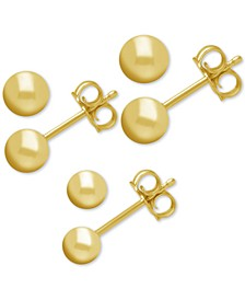 3-Pc. Set Fine Silver Plated Ball Stud Earrings