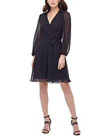 Balloon-Sleeve Dot-Print Dress