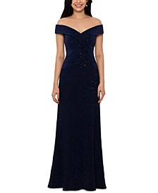 Petite Off-The-Shoulder Sequinned Gown