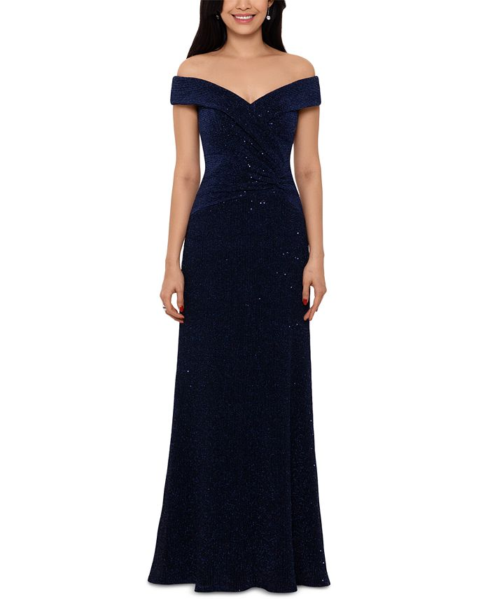 XSCAPE - Off-The-Shoulder Sequinned Gown