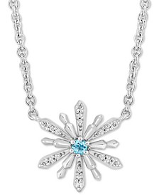 "Enchanted Disney Aquamarine (1/20 ct. t.w.) & Diamond (1/10 ct. t.w.) Elsa Snowflake 18"" Pendant Necklace in Sterling Silver"
