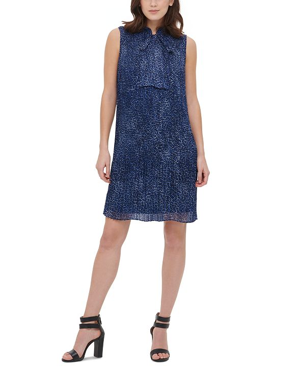 DKNY Tie-Neck Pleated Dress