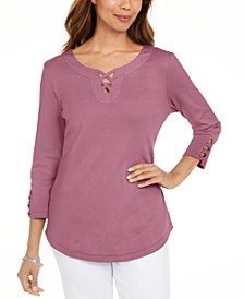 Cotton Lace-Up T-Shirt, Created for Macy's