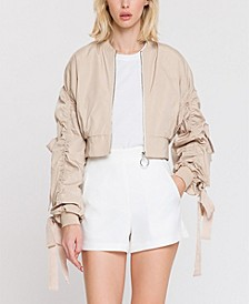 Cropped Bomber Jacket with Grommet Detail