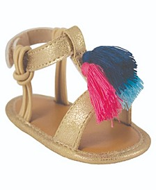 Baby Girls Shimmer T-Strap Sandal with Tassels