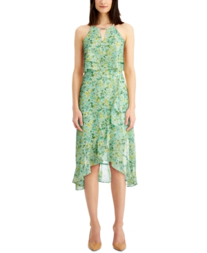 Kensie KENSIE PRINTED POPOVER MIDI DRESS