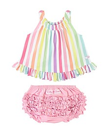 Infant Girls Rainbow Stripe Swing Top and Ruffle Bloomer Set