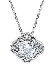 "Diamond Scalloped-Edge 18"" Pendant Necklace (1/2 ct. t.w.) in 10k White Gold"