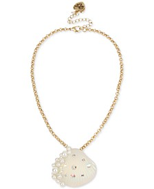 "Gold-Tone Pavé & Imitation Pearl Seashell Pendant Necklace, 16"" + 3"" extender"