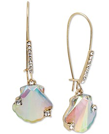 Gold-Tone Pavé & Stone Seashell Linear Drop Earrings