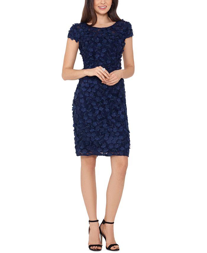 XSCAPE - Dimensional Flower-Trim Sheath Dress