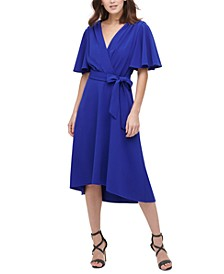Flare-Sleeve Midi Wrap Dress