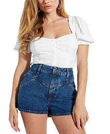 Elsie Puffed-Sleeve Cuffed Top