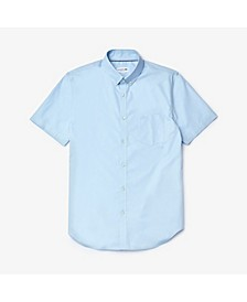 Men's Regular Fit Short Sleeve Pique Button Down Shirt