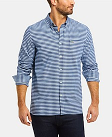 Men's Regular Fit Long Sleeve Gingham Check Oxford Shirt