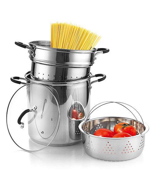 Cook N Home 12 Quart Pasta Cooker Steamer 4 Piece Multipots