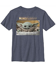 Star Wars The Mandalorian Big Boys The Child Big Eyes Portrait Logo Short Sleeve T-shirt