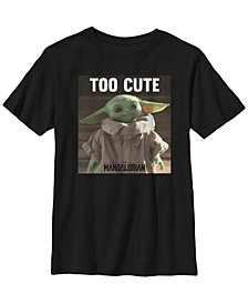 Star Wars The Mandalorian Big Boys The Child Too Cute Portrait Short Sleeve T-shirt