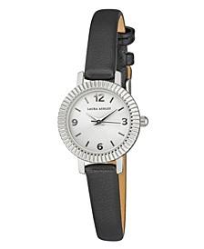 Women's Coin Edge Bezel Black Polyurethane Strap Watch 26mm