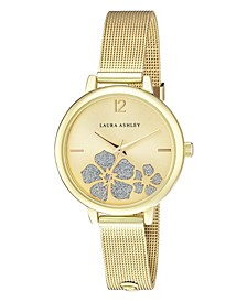 Women's Sunray Floral Stone Dial Gold Tone Alloy Bracelet Watch 34mm