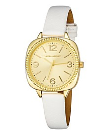 Women's Cushion Case Sunray Dial White Polyurethane Strap Watch 35mm