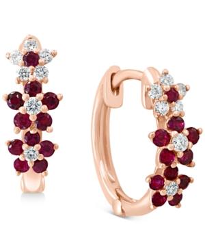 Ruby (3/8 ct. t.w.) & Diamond (1/8 ct. t.w.) Small Hoop Earrings in 14k Rose Gold