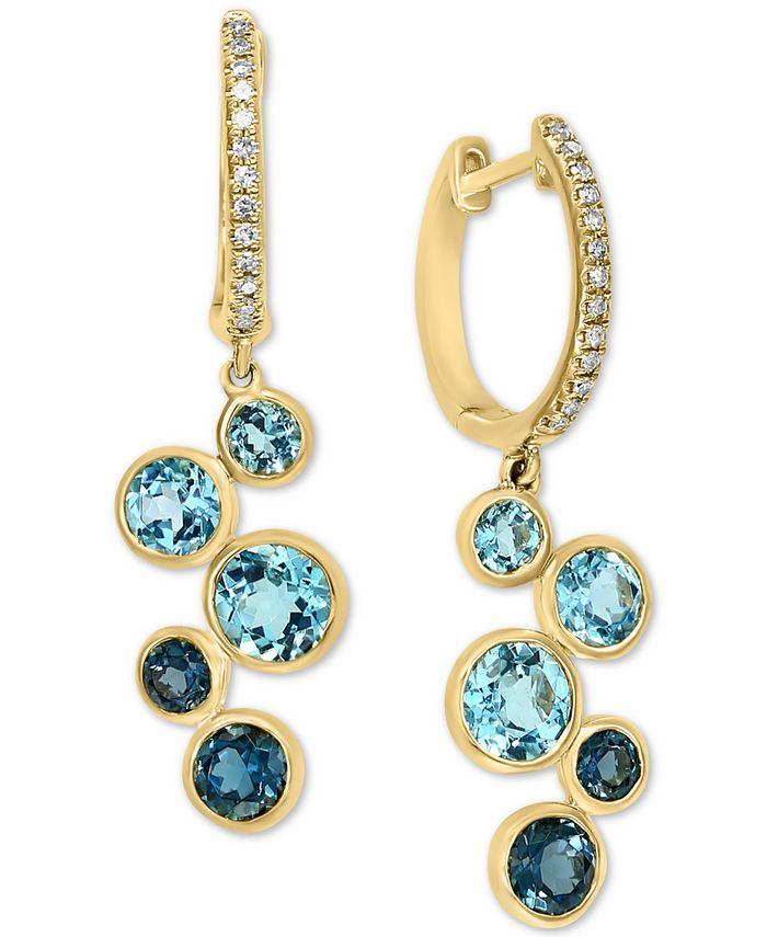 LALI Jewels - Blue Topaz (3 ct. t.w.) & Diamond (1/10 ct. t.w.) Dangle Hoop Earrings in 14k Gold