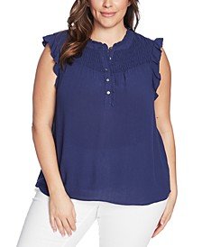 Trendy Plus Size Smocked-Yoke Top
