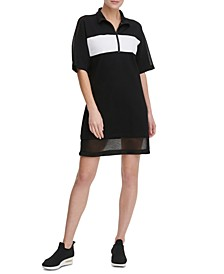 Sport Colorblocked Half-Zip Sheer-Hem  Dress