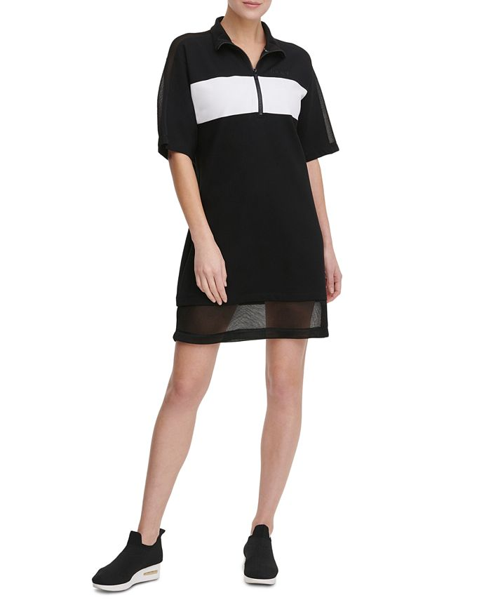 DKNY - Colorblocked Half-Zip Sheer-Hem  Dress