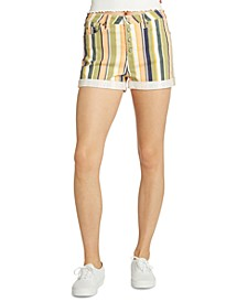 Juniors' Striped Cotton Button-Fly Shorts