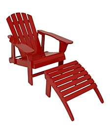 Wooden Outdoor Adjustable Backrest Adirondack Chair and Ottoman Set