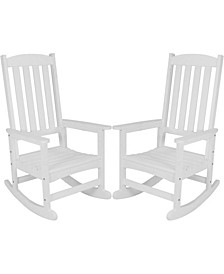 All-Weather Faux Wood Design Rocking Chair Set of 2
