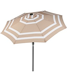 9' Outdoor Patio Umbrella with Solar Lights and Tilt or Crank LED