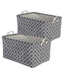 Polyethylene Coated Cotton Polyester Laundry Bin Lattice Rectangle Medium Set of 2
