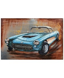 "Blue car Mixed Media Iron Hand Painted Dimensional Wall Art, 32"" x 48"" x 2.4"""