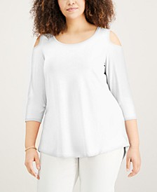 Plus Size Cold-Shoulder Top, Created for Macy's