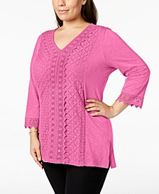 Plus Size Lace-Trim Tunic, Created for Macy's