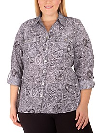 Women's Plus Size Allover Print Utility Shirt