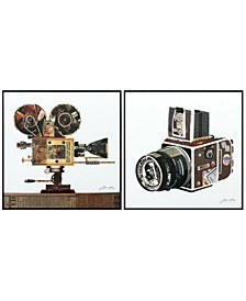 "Film Projector Camera Reverse Printed Art Glass and Anodized Aluminum Frame Wall Art, 24"" x 24"" x 1"""