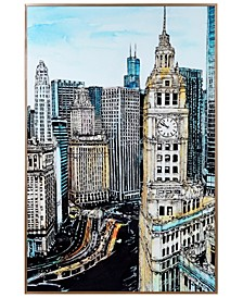 "Big Ben View Colorful Drawing on Reverse Printed Art Glass and Anodized Aluminum Frame Wall Art, 36"" x 24"" x 1"""