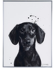 "Dachshund' Pet Paintings on Reverse Printed Glass Encased with a Gunmetal Anodized Frame Wall Art, 24"" x 18"" x 1"""