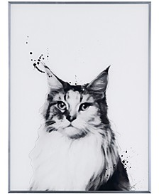 """Siberian Cat Pet Paintings on Reverse Printed Glass Encased with a Gunmetal Anodized Frame, 24"""" x 18"""" x 1"""""""