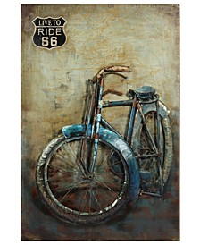 "Live to Ride Mixed Media Iron Hand Painted Dimensional Wall Art, 48"" x 32"" x 2.8"""