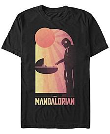 Men's Star Wars The Mandalorian The Child Sunset Meeting Short Sleeve T-shirt