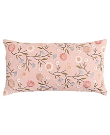 """Floral Down Filled Decorative Pillow, 26"""" x 14"""""""